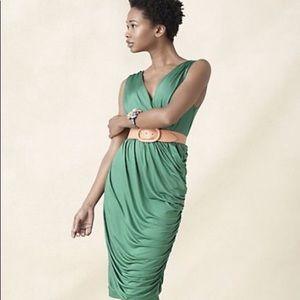 Anthropologie Deletta green Wicklow Ruched dress